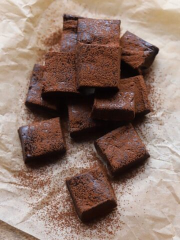 overhead view of squares of chocolate fudge