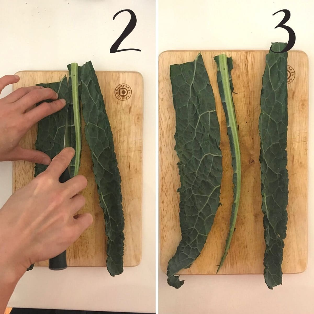 steps 2 & 3 showing cutting away central stalk
