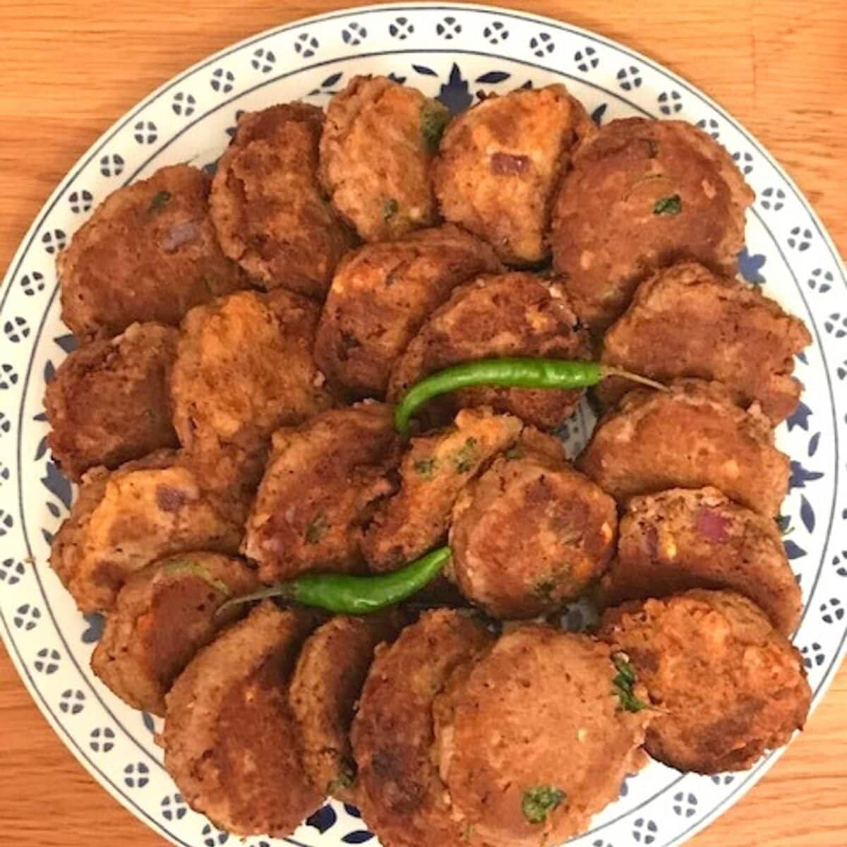 Plate of shami kebabs on round plate