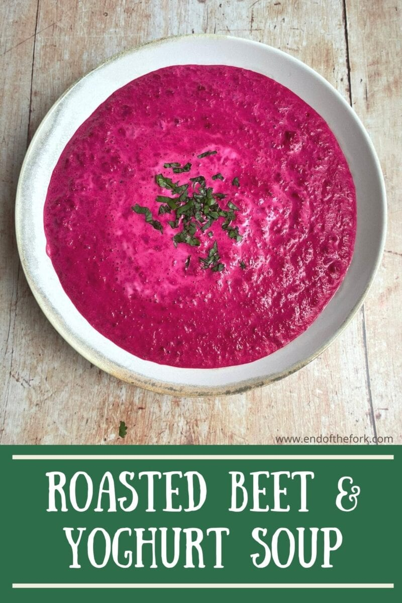 pin aerial image of beet soup
