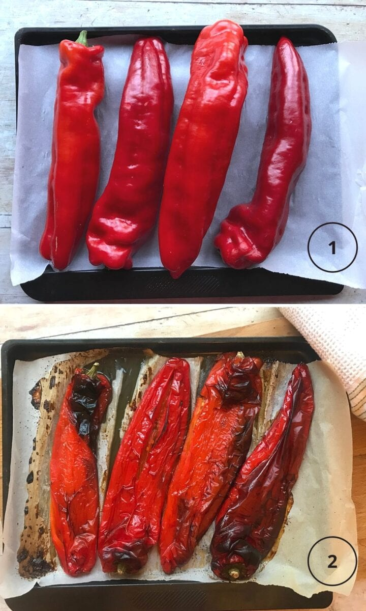 image of raw peppers on baking tray and one showing  roasted peppers