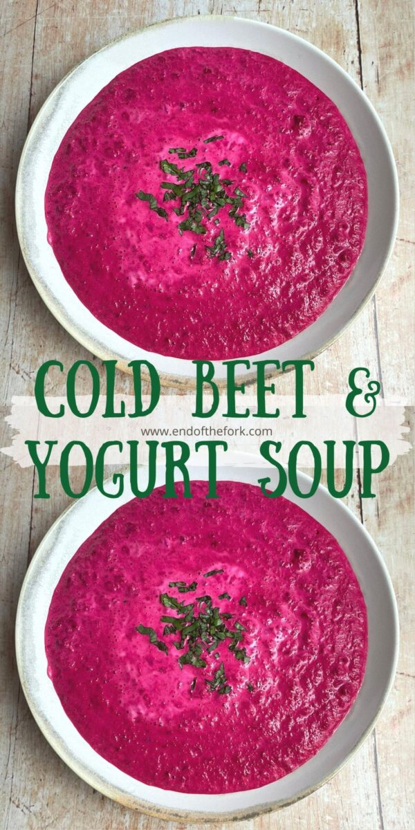pin two aerial images of beet soup