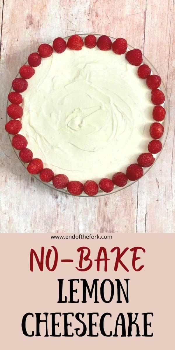 Pin image cheesecake with a border of strawberries
