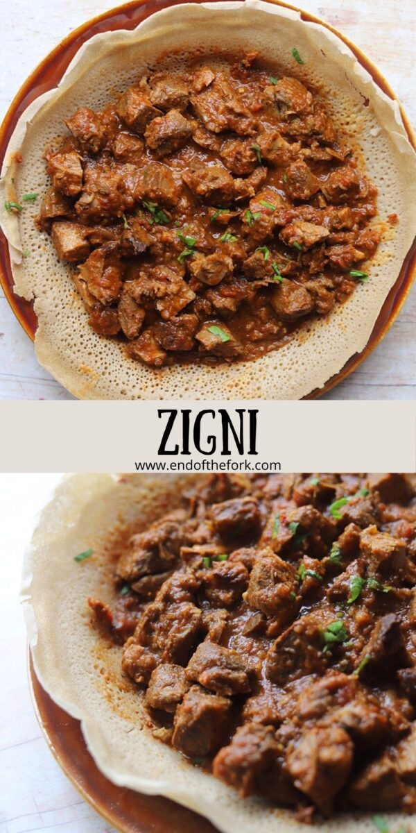 pin image 2 dishes of zigni on injera bread.