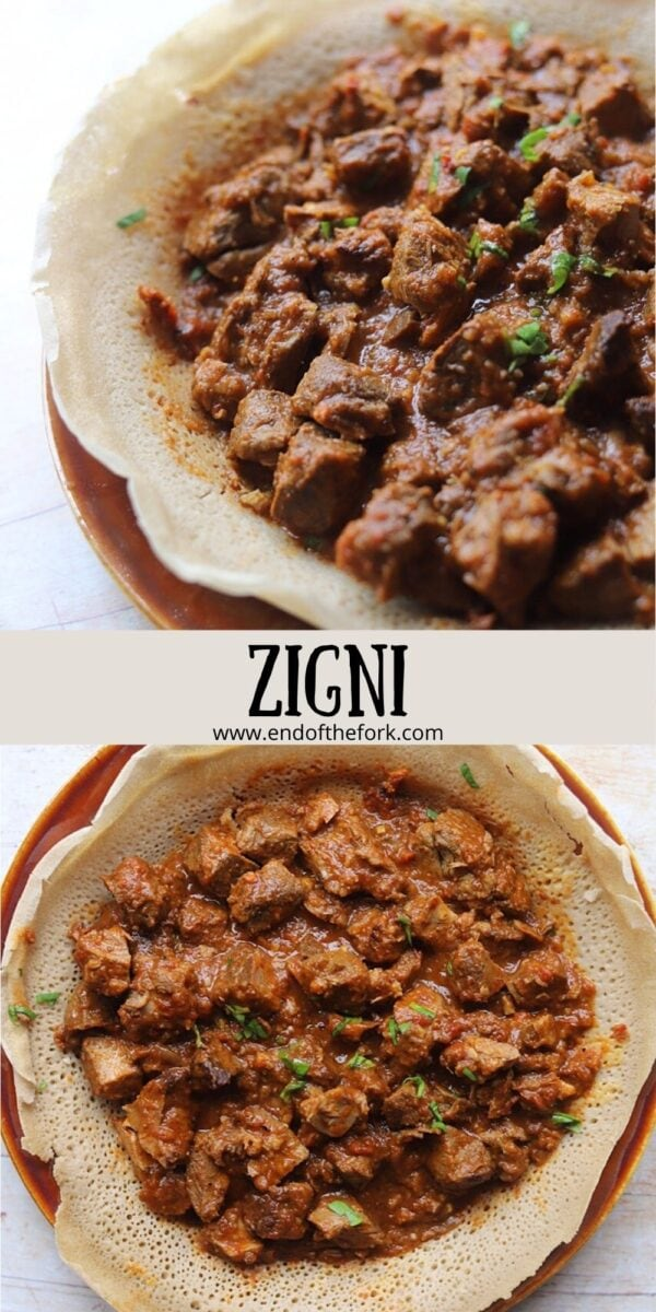 pin image 2 dishes of zigni with injera bread.