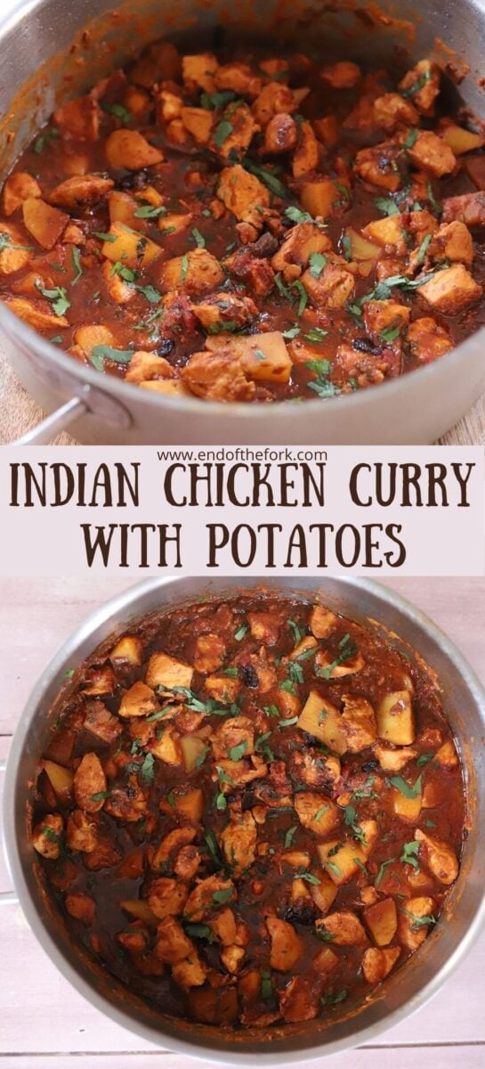 Pin of two images of chicken curry in large pot.