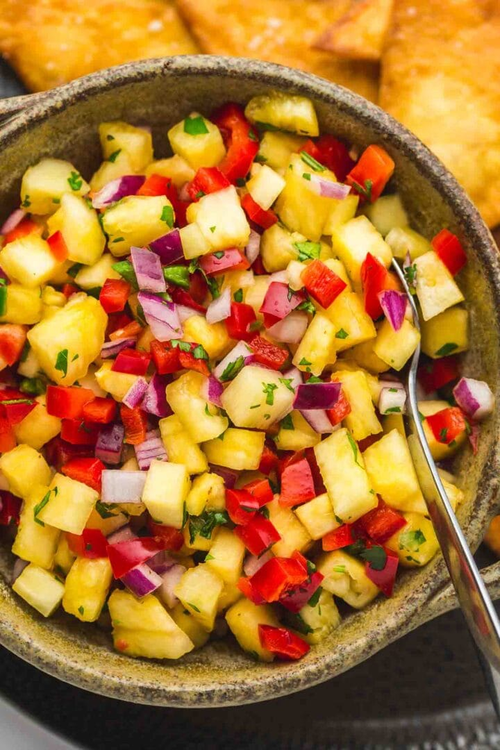 Pineapple salsa in a large bowl