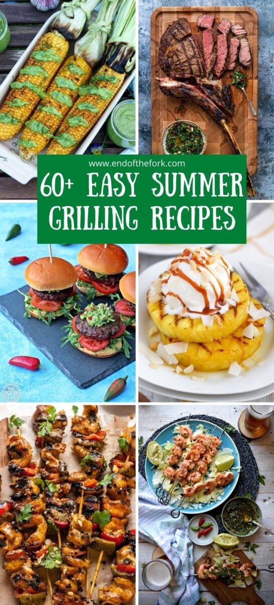 Pin containing six images showing grilled corn, burgers, kebabs, pineapple and steak..