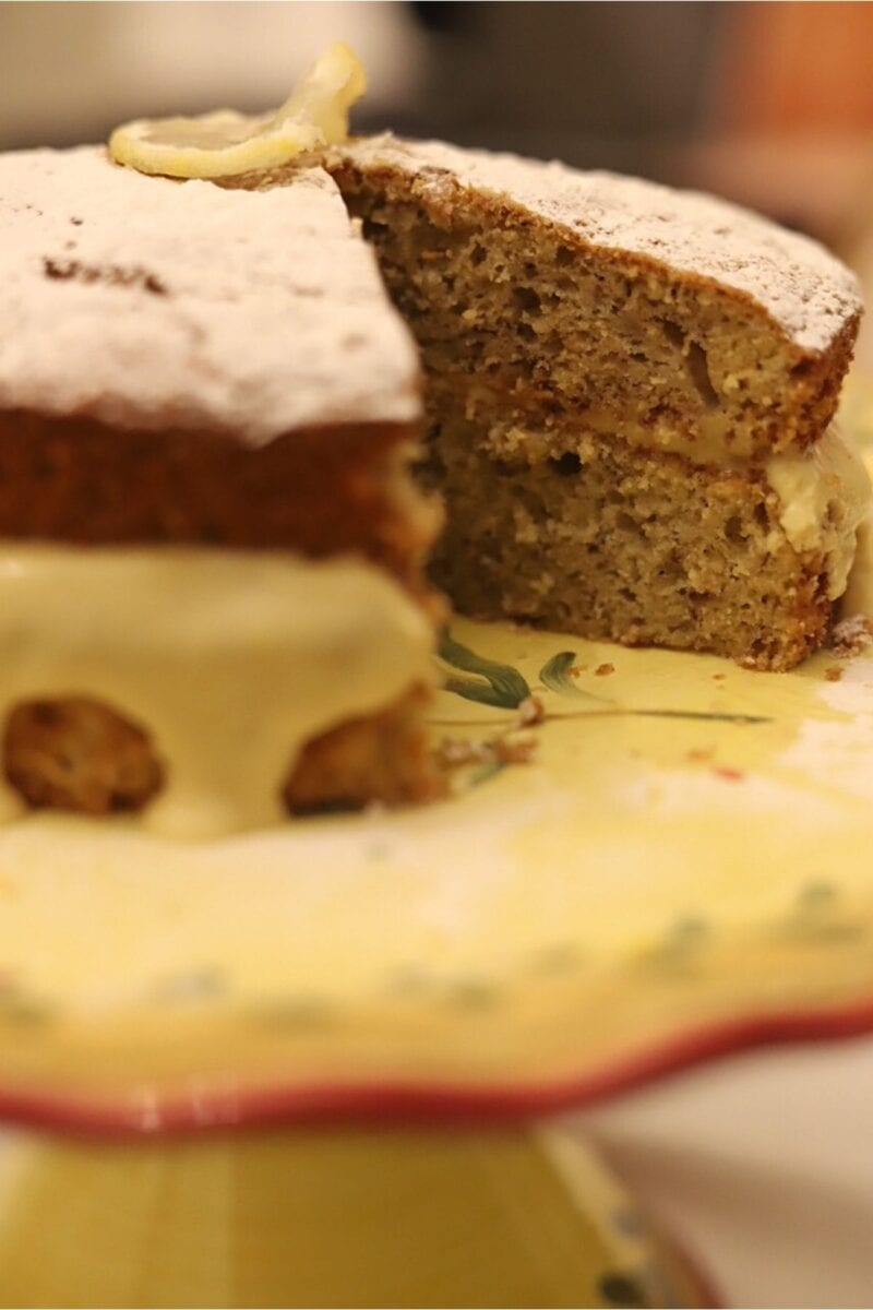 Image showing cake with a slice removed to show cake texture.