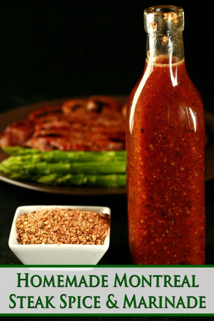 Image of large bottle of red sauce next to bowl of seasoning and vegetables in background.