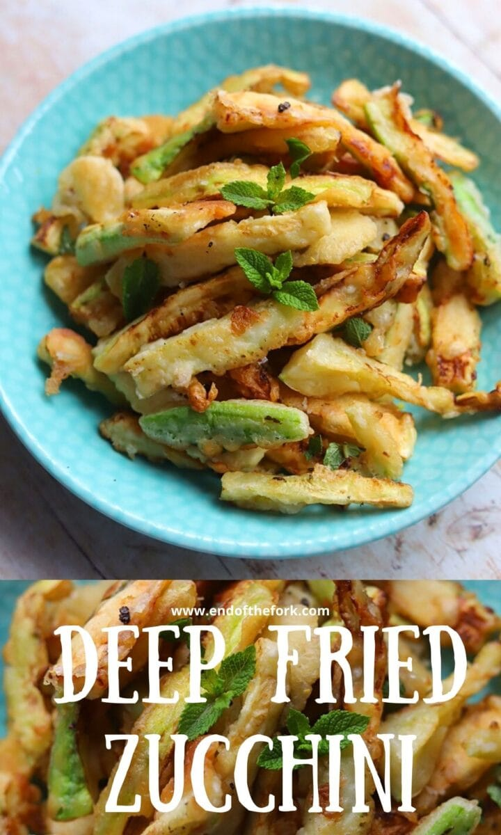 Pin images of deep fried zucchini with fresh mint.