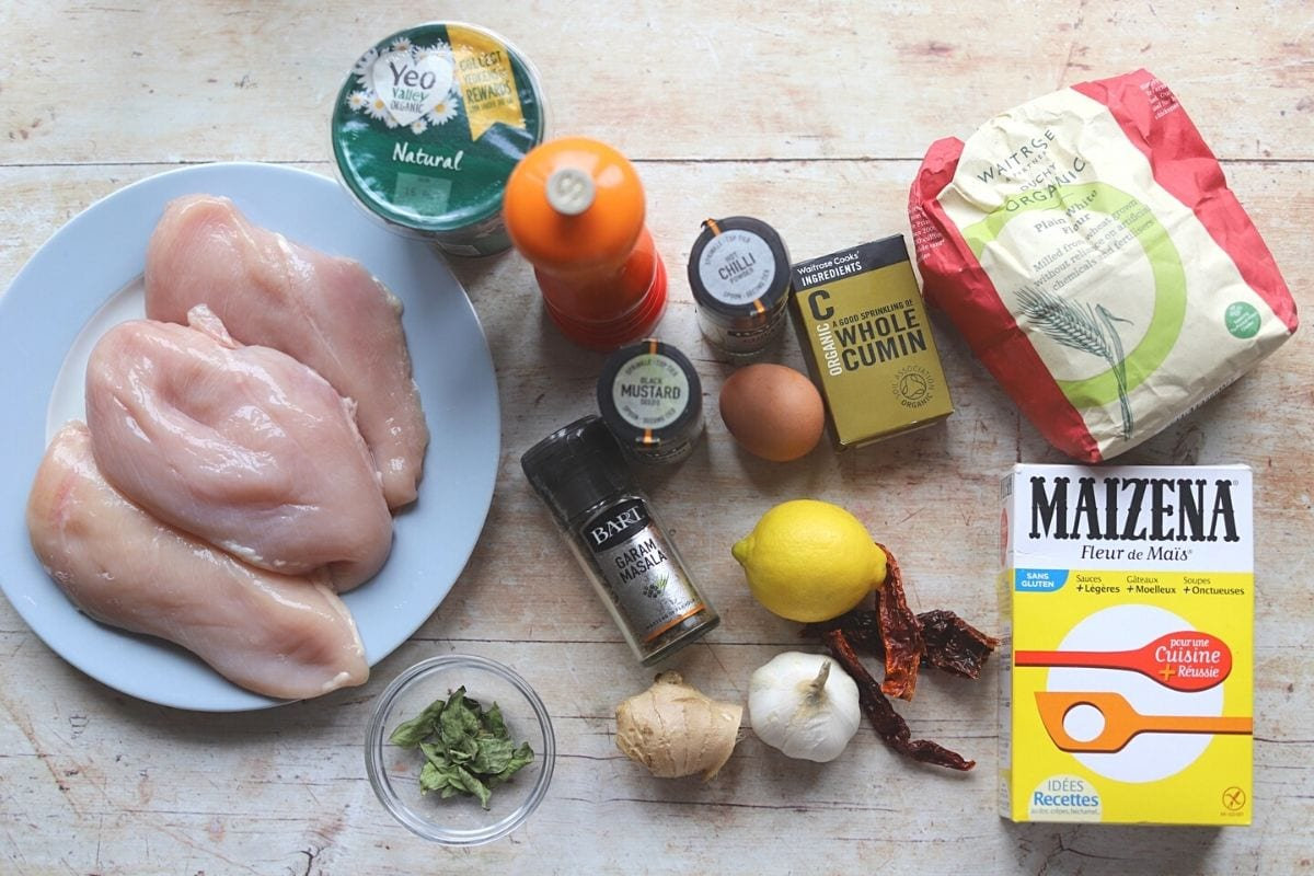 Ingredients for chicken 65 on a table.