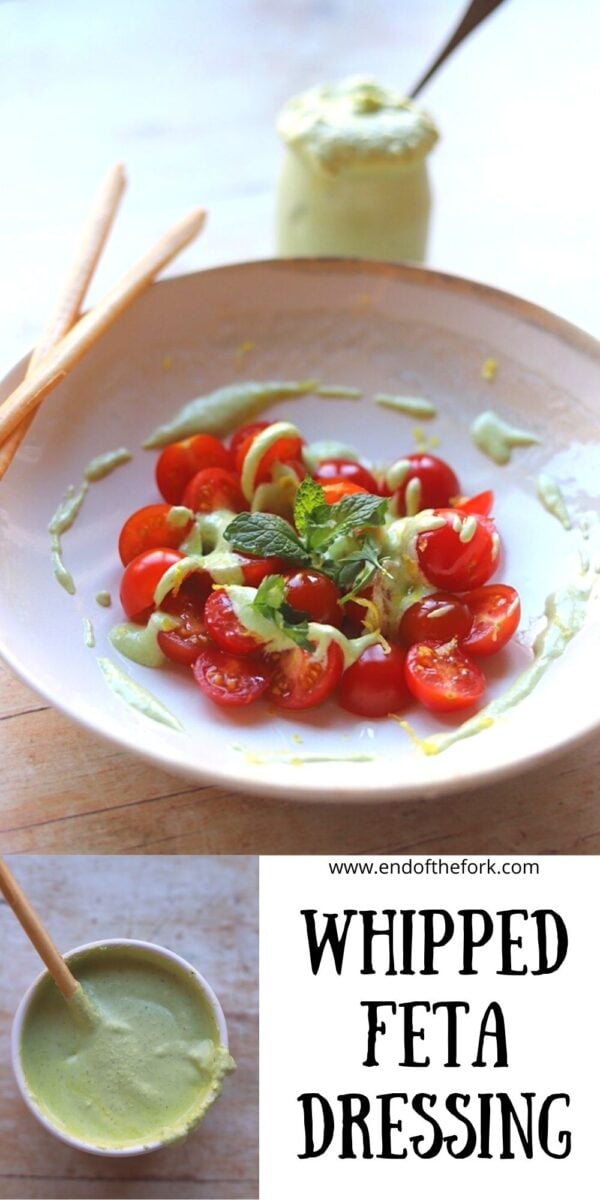 Pin image of whipped feta dip over cherry tomatoes.