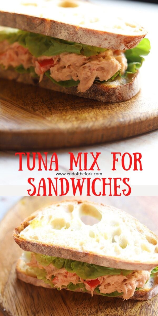 Pin images of tuna mix in sandwiches.