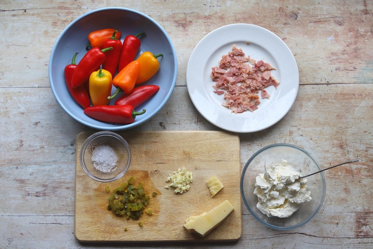 Ingredients for stuffed peppers laid out on table.